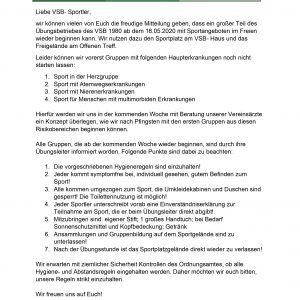 Anschreiben Wiederaufnahme Sport 18.05.2020