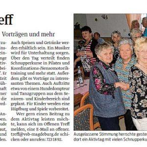 Ein Artikel aus der Magdeburger Volksstimme vom 17.02.2017: Am 22. April 2017 findet der Tag der offenen Tür im offenen Treff Magdeburg statt.